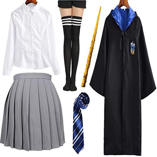 Zauberer Kostüm Kinder Erwachsene Weblich UmhangOutfit Set Cape,Krawatte,Hemd,Rock,Kniestrümpfe Zaubstab Fasching für Zauberer