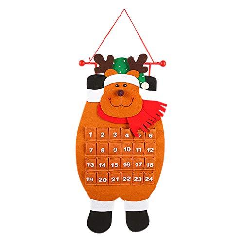 Jolisson Adventskalender Zum Selbstbefüllen, Kalender Wanddeko zum Aufhänger 68cm/26.8