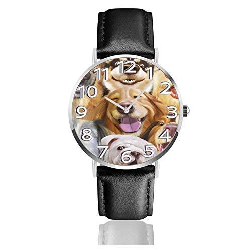 Reloj de Pulsera Perros sonrientes Foto Familiar Correa de Cuero PU Duradera Relojes de Negocios de Cuarzo Reloj de Pulsera Informal Unisex