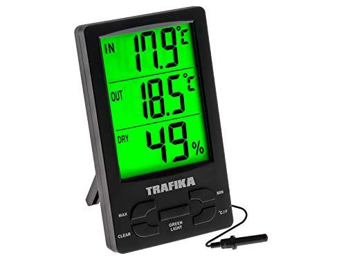 TRAFIKA Termómetro con Higrómetro Especial para Cultivo Interior con sonda de 2.5M / Pantalla LED Verde Grande/Armario Cultivo Indoor/Medidor Temperatura y Humedad
