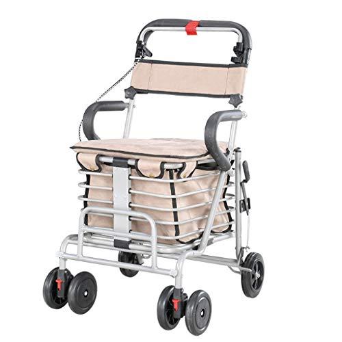 Lichtgewicht Vouwen 6 Wiel Rollator Wandelaar/Winkelwagen Inklapbare Trolley/Ouderen Ouderdom Wandelstoel kan nemen om voedsel te kopen om te helpen Duw de kleine Cart-41x47x86-90cm