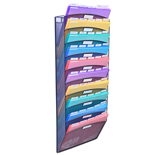 Ultimate Office Mesh Wall File Organizer, 10 Tier Vertical Mount Hanging File Sorter. Multipurpose Display Rack Includes 25, 5th Cut PocketFile Clear Document Folder Project Pockets (Black)
