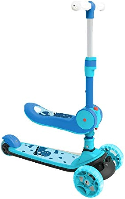 Kinder Roller Kinder Einbeinigen Rutsche Kann Roller Fahren Junge Mdchen Yo Auto Zusammenklappbaren Roller Flash Rad Roller, Hhenverstellbar (Farbe   Blau, Größe   57  26  83cm)