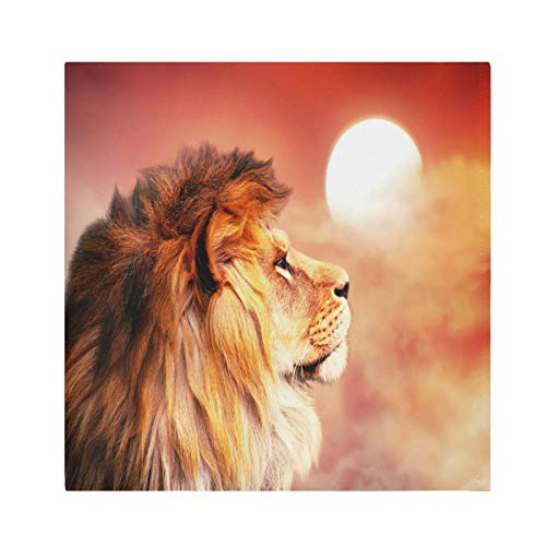 TropicalLife HaJie Napkins Sunset Wildlife Lion Animal Dinner Napkin Paper Satin Polyester Cloth Reusable Napkins for Table Kids 20x20 in, 6 Pcs