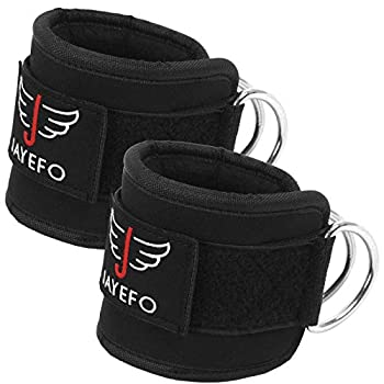 Jayefo Ankle Straps Padded for Cable Machine Attachment Leg Kickback Pulley Workout Pair Ankle Cuffs for Hips Hamstrings Quads Abs Glutes Workout for Women & Men Adjustable  Black