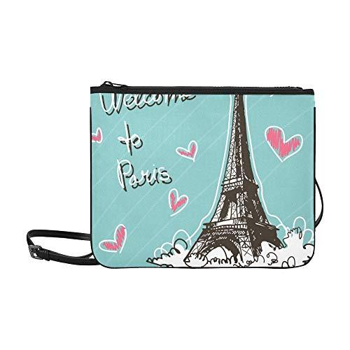 WYYWCY Gruß Weltberühmter Wahrzeichen Benutzerdefinierte hochwertige Nylon Slim Clutch Bag Cross-Body Bag Umhängetasche