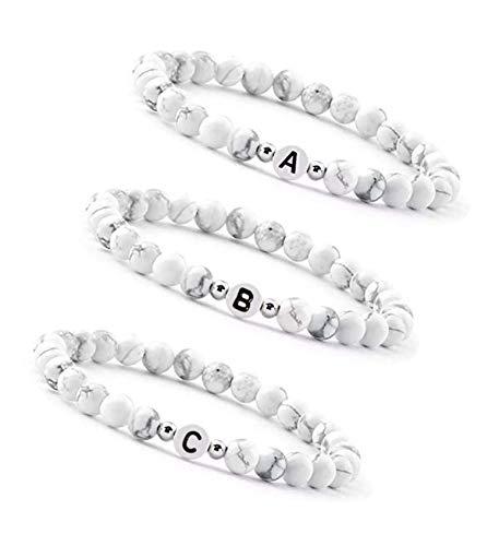 Personalisierte Partnerarmbänder   Pärchen Namensbänder couple Edelsteine Howlith 6mm   Perlenarmband Freundschaftsarmband Buchstaben Armband W2