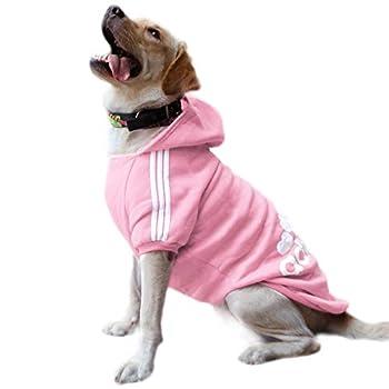Eastlion Sweat à Capuche Grand Chaud Coton Sweatshirt pour Chiens Pet Pull Vêtements Veste pour Chien Manteau Jumpsuit Costume,Rose,7XL