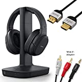 Sony WH-L600 Headphone & Cable Bundle Includes – Wireless Digital Surround Overhead Headphones Feature 98.43-ft Range, Volume Control, Voice Mode – 6-ft 3.5mm Stereo + NeeGo RCA Plug Y-Adapter for TV