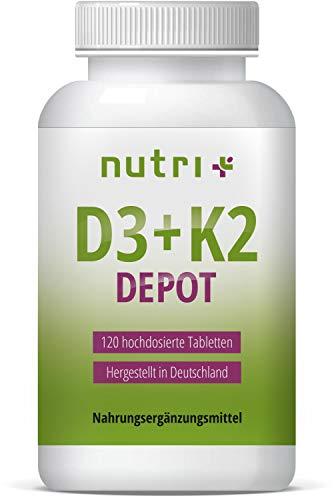 Vitamine D3 + K2 VEGAN - Hoge dosering - Vitamin D Depot uit korstmossen - Groente - Cholecalciferol - Menaquinone MK7 all trans - 120 tabletten - Gemaakt in Duitsland