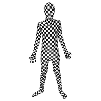 """Morphsuits Black and White Check Kids Fancy Dress Costume - Size Small 3'-3'5""""  91cm - 104cm"""