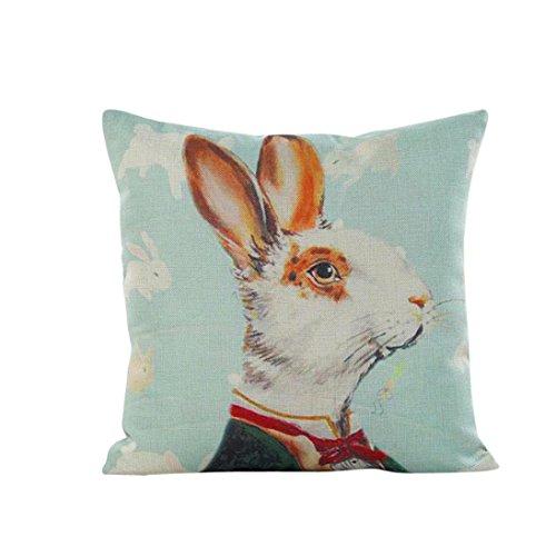 Kissenbezug 43 x 43 cm Tier Kaninchen Sofa Taille Wurf kopfkissenbezüge Home Decor Festival Kissenhülle LuckyGirls (A)