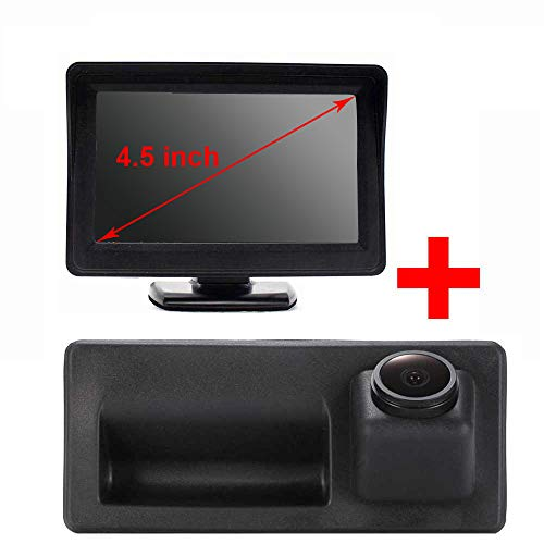 HD CCD IP68 kofferbakgreep waterdicht voertuig-specifieke handgreep camera geïntegreerd in achteruitrijcamera voor Audi A3 A4 A4L S4 A5 S5 Q3 Q5 / Touareg/Golf VI Variant/Skoda/Porsche/Passat, Achteruitrijcamera + 4,5 inch monitor.