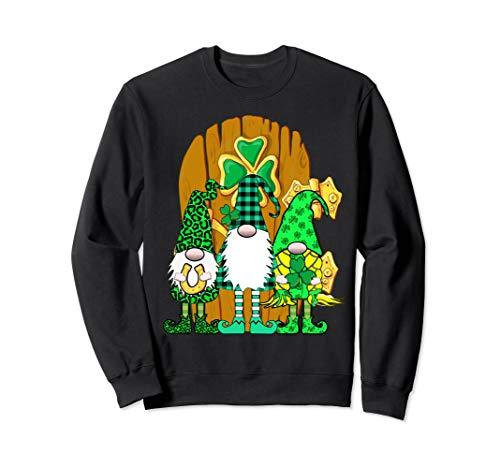 3 langbeinige irische Gnome Green Plaid Gnome Tür Sweatshirt