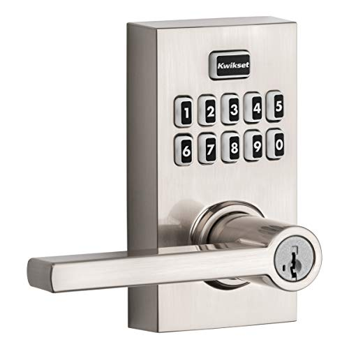 Kwikset 99170-003 SmartCode 917 Keypad Keyless Entry Contemporary Residential Electronic Lever Lock Deadbolt Alternative with Halifax Door Handle and SmartKey Security, Satin Nickel