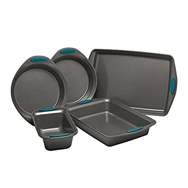 Rachael Ray 47021 Nonstick Bakeware Set, Medium, Gray/Marine Blue
