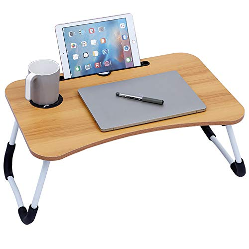 Portable Laptop Bed Table,Folding Computer Desk,Notebook Table Dorm Desk with Foldable Legs & Cup Slot,for Eating Breakfast,Reading,Watching Movie on Bed/Sofa(60 X 40Cm)