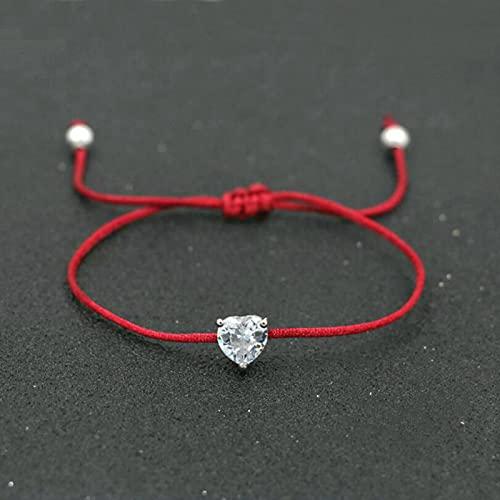 DALIU Bolas de circonita de Cristal de Color Plateado de la Suerte, Pulseras de Cuerda de Hilo Rojo para Mujer, para Parejas, Amantes, Piedras semipreciosas