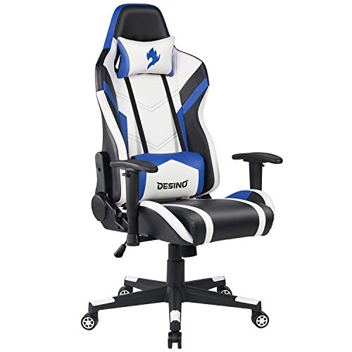 DESINO Gaming Chair Racing Style Ergonomic Swivel Rolling Computer Chair Video Game Desk Chair with Headrest and Adjustable Lumbar Support for Adults (Blue) blue chair gaming