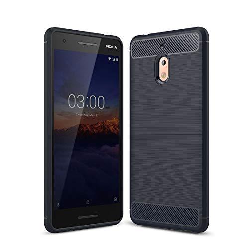 König Design Handy-Hülle kompatibel mit Nokia 2.1 Silikon Hülle Hülle Sturzsichere Back-Cover Handyhülle - Carbon - Blau