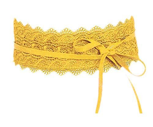 Unbekannt Damen Gürtel Spitze Gelb Taillengürtel Wickelgürtel Bindegürtel Stretch SA-46