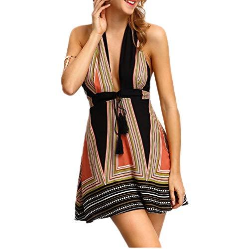 LWX Damen Kleider Sexy Tiefe V-Ausschnitt Ärmellos Jerseykleid Cocktailkleid Partykleid Sommerkleid Skaterkleid Festliches Kleid,A,M