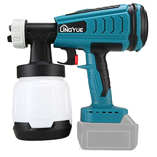 LINGYUE 18V Cordless Handheld Paint Sprayer for MAKITA battery High Power HVLP Home Electric Spray Gun 800ml Container for Home and Outdoors, Painting Projects such as Car, Bicycle, Chair etc