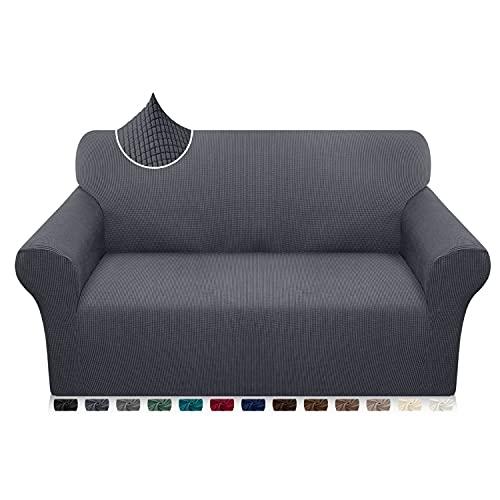 Luxurlife Funda de sofá de Alta Elasticidad Funda para Sofá Premium Súper Suave Protector de Muebles para Sala de Estar(2 Plazas,Gris)