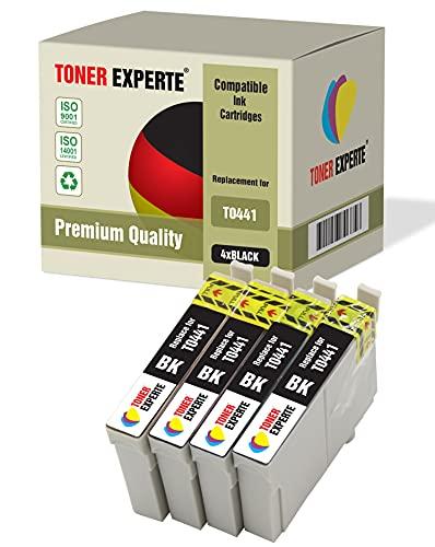 4 XL TONER EXPERTE Compatibles T0441 Cartuchos de Tinta para Stylus C64 C66 C68 C84 C86 CX3600 CX3650 CX4600 CX6400 CX6600 (4 Negro)