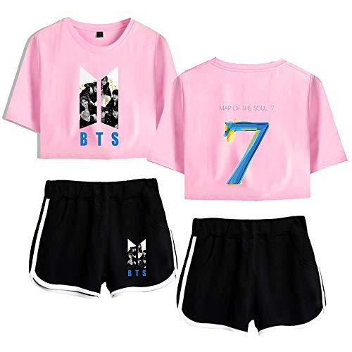 BTS T-Shirt Ensemble Tops et Idol Shorts Imprimé Survêtements Bangtan Boys Vêtements de Sport (Color : Pink 1, Size : S)