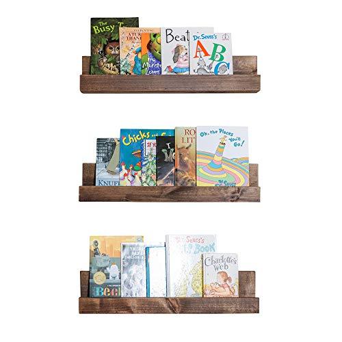 Drakestone Designs Floating Nursery Bookshelves | Solid Wood | Wall Mount | Modern Farmhouse Decor | 28 x 4 Inches - Walnut Finish (Set of 3)