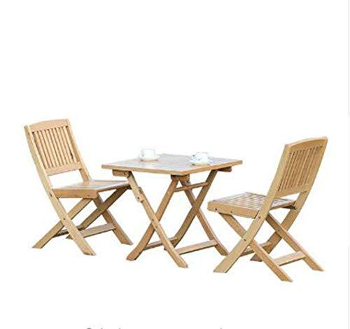 Wohndekoration Tragbarer Tisch und Stuhl im Freien Set Massivholzbalkon Freizeitstuhl Faltbare Gartentische und Stuhlkombination