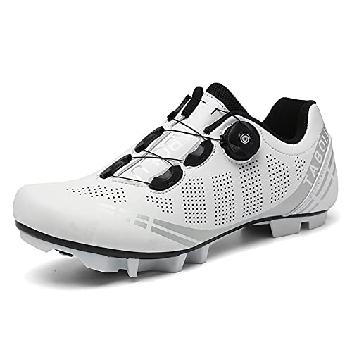Zapatillas de Bicicleta de Montaña Antideslizantes para Hombre Mujer Zapatillas de Ciclismo MTB Transpirables Profesionales Compatibles con SPD White 265