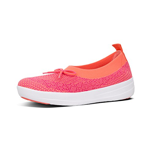 FitFlop Womens Uberknit Ballet Flat with Bow, Coral/Fuchsia, US 7