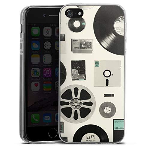 DeinDesign Custodia sottilissima Compatibile con Apple iPhone 5 Custodia per Cellulare di Silicone Trasparente Cover Semplice Technologia Retro Tecnica