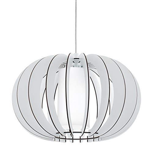 EGLO Pendelleuchte Stellato 2, 1 flammige Hängelampe Vintage, Hängeleuchte aus Stahl, Holz und Glas in weiß, Esstischlampe, Wohnzimmerlampe hängend mit E27 Fassung, Ø 40 cm
