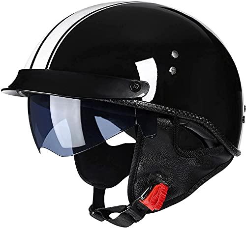 QHHALXZ Casco de motocicleta retro con visera solar para hombres y mujeres Motor Cruiser Scooter Chopper Moped ATV ECE/DOT certificado