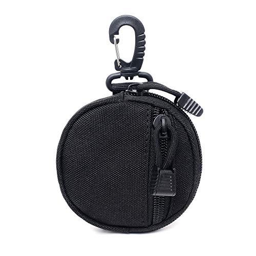 XIOFYA 1 pz Tactical EDC Pouch Mini Portachiavi Portafoglio Uomini portamonete Pouch militare Esercito Monete Tasca Con Gancio Marsupio Cintura Per Caccia (Colore: Nero 2)