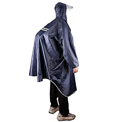 KRATARC Outdoor Rain Poncho Reflective Waterproof Raincoat Camping Hiking Cycling with Hood for Men Women Adult (Navy Blue)