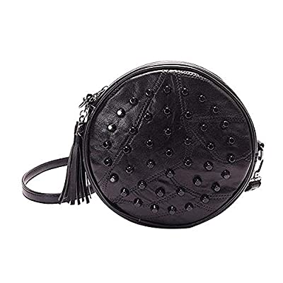 Heidi Bag Leather Round Handbag Circle Crossbody Bag Messenger Bag with Tassel