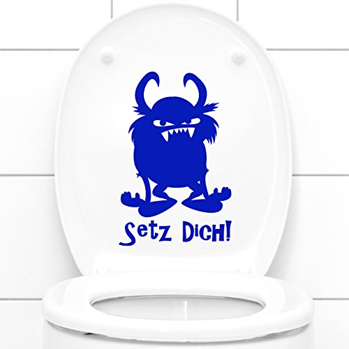 WANDTATTOO-GÜNSTIG-FFO Wandora WC Deckelaufkleber Setz Dich! + Monster I dunkelrot (BxH) 13 x 20 cm I Badezimmer Bad Toilette Wandaufkleber Wandsticker Sticker Aufkleber G122