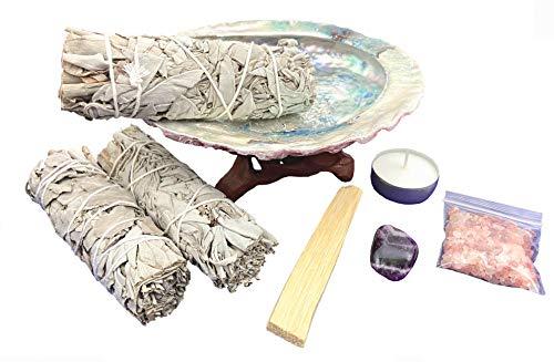 Chakra Palace Large Smudge Kit Gift Set, Abalone, Wood Stand, Sage, Palo Santo, Amethyst - 10 Items