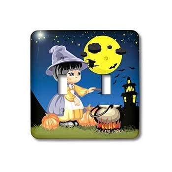 3dRose lsp/_172236/_2 Spooky Halloween town with flying witch Double Toggle Switch