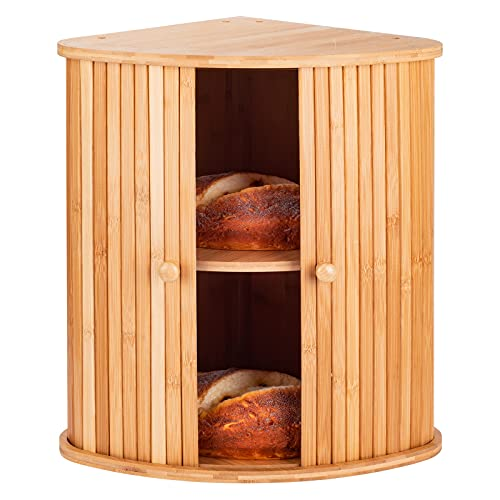 Bamboo Bread Box For Kitchen Countertop TOMKID Farmhouse Corner Bread Box 2 Layer Bread Storage Container, Extra Large Bread Boxes, 15.1 in x 11.8 in x 16.8 in (No Assembly)