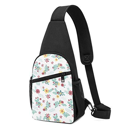 GIERTER Colourful Spring Flower Seamless Pattern Sling bag,Lightweight Backpack chest pack crossbody Bags Travel Hiking Daypacks for Men Women