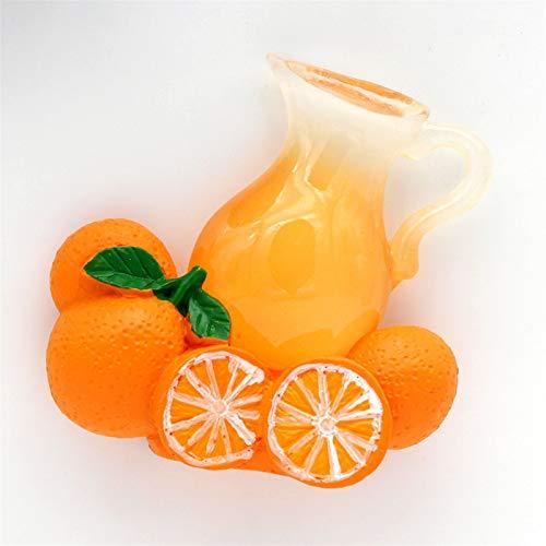Jnyyjc Imán de Nevera Imitación de Vidrio Naranja Jugo Botella magnético refrigerador Palo decoración de Cocina 3D Fruta Naranja Linda colección refrigerador imán