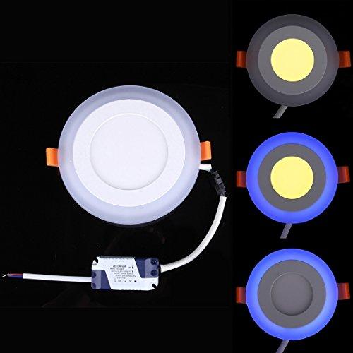 Eenvoudige 6 W + 3 W spanningsbreedte in twee kleuren (wit + blauw) LED plafondlamp met dubbel paneel en rond licht met 3 verlichtingsmodi, AC 100-265 V, afmetingen: 145 x 145 x 8 mm huis