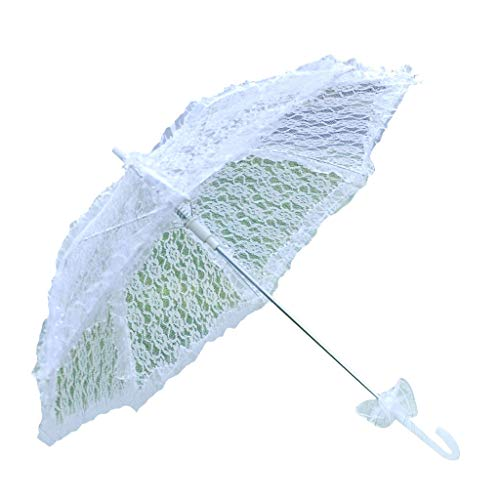caralin Guarda-sol de noiva de renda vazada branca romântica para fotos, guarda-chuvas decorativos, daminha de flor, poliéster branco + renda + absorvente de sombra de aço