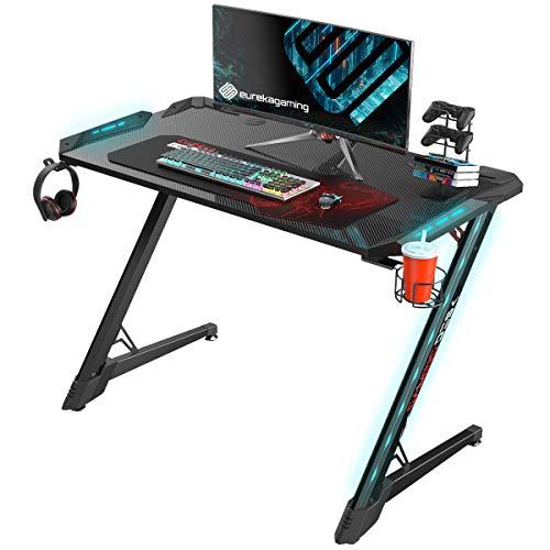 EUREKA ERGONOMIC Gaming Schreibtisch Gaming Tisch Z1S Pro Computertisch PC Schreibtisch Gamer mit RGB Beleuchtung Kabelmanagement Mauspad Schwarz (113 cm)
