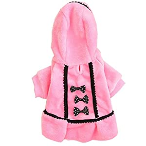 Small Dog Girl Clothes Wakeu Soft Warm Bowknot Polar Fleece Winter Dress Costume Clothing for Dog Female (XXS, Pink)